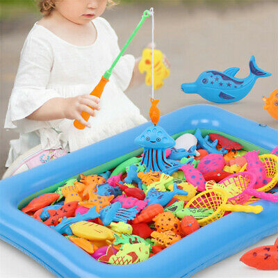 Magnetic Fishing Toy Set  Fishing Games Outdoor Toys Rod Inflatable Pool Kids