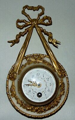 ANTIQUE French CARRERA MARBLE Wall Clock WORKS! Gilt Bronze