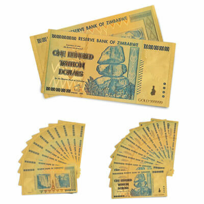 Lots Zimbabwe 100 Trillion Gold Dollar Money Currency Paper Banknote Collections