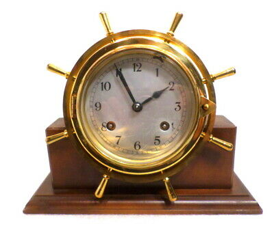 Vintage Signed German Solid Brass Eight Day Ship's Clock With Original Base