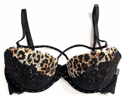 VICTORIAS SECRET PINK DATE PUSH UP PADDED STRAPPY FLORAL LACE BRA NWT