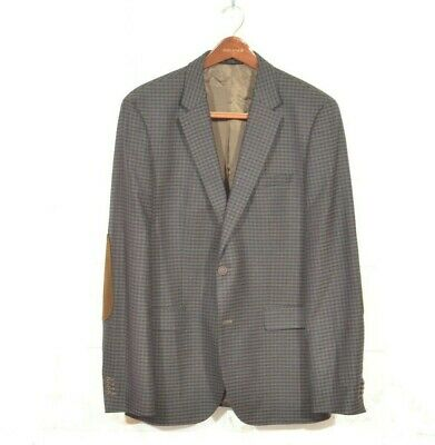 HUGO BOSS 42L Brown Blue Check Wool The Smith5 Elbow Patch 2 Button Blazer