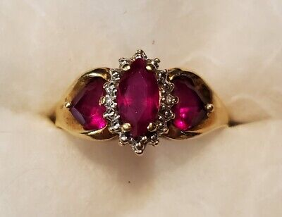 Solid 10Kt Yellow Gold Lab-Created Ruby Ring Marquis And Heart Shapes