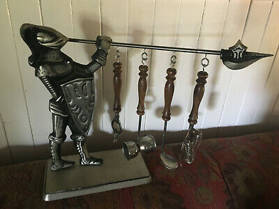 Vintage / Metal Medieval Knight In Armour Bar Set - Fantastic Condition - Rare