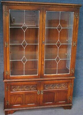 Old Charm Carved Oak Leaded Glass Display Cabinet In Tudor Brown