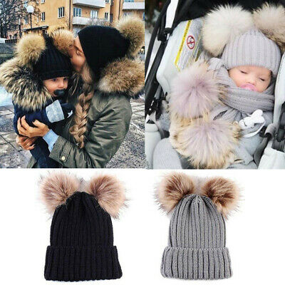 Mom&Newborn Baby Boy Girls Warm Double Fur Pom Bobble Knit Beanie Hat Cap Winter