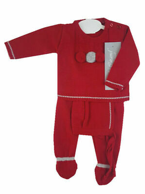 Baby boys girls Spanish style Portuguese red knitted outfit 3 months BNWT