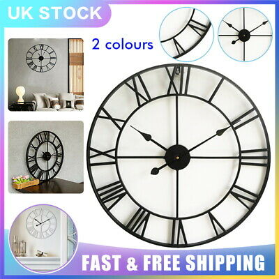 40 60CM Extra Large Roman Numerals Wall Clock Metal Skeleton Open Round Face UK
