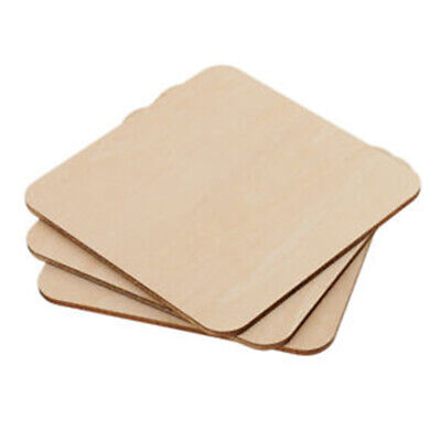 Square MDF Unfinished Wood Pieces Blank Plaque Ornament Wooden Tags DIY Crafts