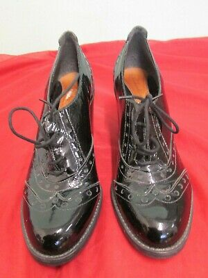 "Ladies Clarks Laced Black Patent Leather 3"" Stack Heeled Brogues UK7"