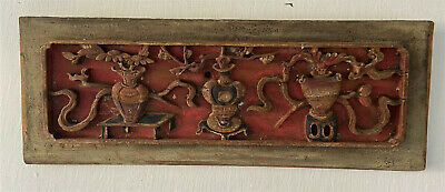 Antique Vintage Chinese Carved Wood Panel Shingle Architectural Art - Red & Gold