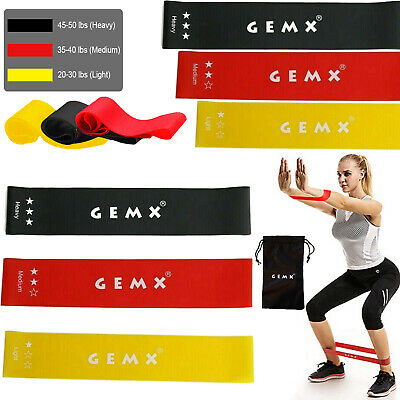 Resistance Band Home Exercise Fitness Latex Loop Bands Set of 3 Gym Booty Glutes