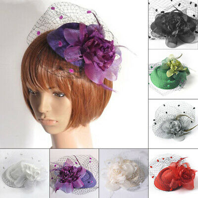 Ladies Mesh Faux Feather Fascinator Lace Hair Clip Wedding Cocktail Accessories