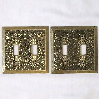 Vtg Pair Floral Scroll Double Light Switch Wall Plate Antique Brass Gold Backing