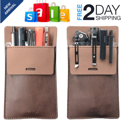 Pocket Protector Leather Pen Pouch Holder Organizer for Shirts Lab Coats Hold