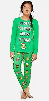 Justice 10 Plus Christmas Emoji 😀 Pajamas NEW NWT He Sees When You Are Texting
