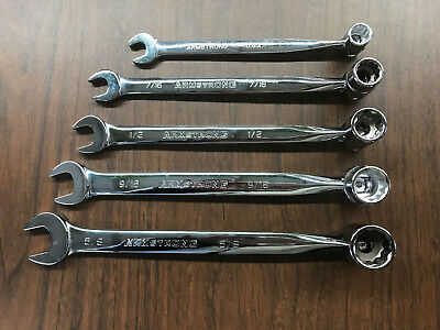 Armstrong 12 Point Full Polish Flex Head Wrench, 5 Piece Set: 3/8 in to 5/8 in