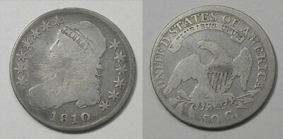 X1247  1810 Capped Bust Half Dollar 50c, cleaned/scratched