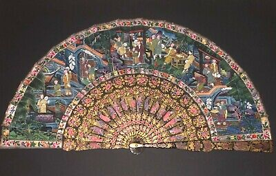 Rare Antique Chinese Gold Red Lacquer Hand Painted Court Scene 100 Faces Fan
