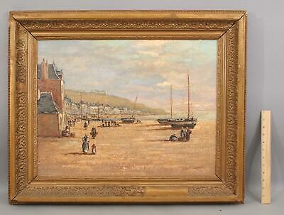 Antique Signed French Impressionist Coastal Fishing Harbor Town Oil Painting