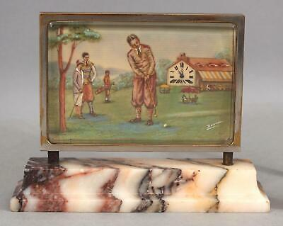 Antique Signed Miniature Country Club Playing Golf Painting Desktop Swiss Clock