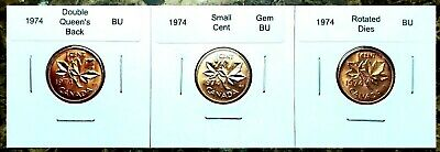 Canada 1974 Small Cent Set Gem BU, Rotated Dies & Dbl. Queen's Back!!