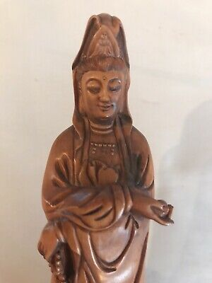 Asian Religious Woman With Beads And Fish Amazing Hard Wood Carving Signed