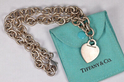 "Sterling Silver Possible ""Tiffany & Co."" Heart Necklace W/ Bag!"
