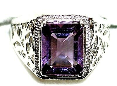 Details about  /11x9 mm 925 Sterling Silver February Amethyst Stone Solitaire Men Ring Size 7-14