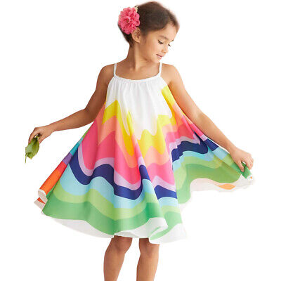US Kids Baby Girls Summer Rainbow Sling Dress Sleeveless Party Beach Dresses