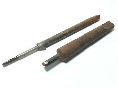 2 Vintage broken lathe drill tap bit tool parts watchmaker estate tools #lot201