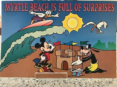 and Friends are Line Dancing in Myrtle Beach Disney Postcard - Mickey Minnie