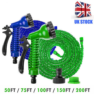 50FT-200FT Expandable Garden Magic Hose Pipe Flexible Stretch Water Spray Gun