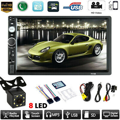 7inch Double 2 DIN Car MP5 Player Bluetooth Touch Screen Stereo Radio + Camera x