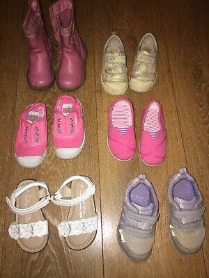 Job Lot: 6 Girls Shoes Boots & Sandals - Size 5 & 5.5 Clarks Next Mothercare F&F