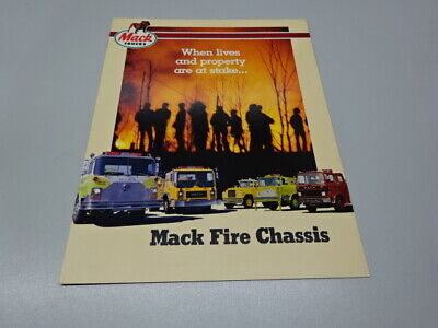 MACK FIRE CHASSIS TRUCK BROCHURE, in ENGLISH. 1985. CF / MC / R / MID-LINER
