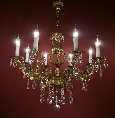 chandelier brass crystal ceiling lamp 8 light lustre used chandeliers