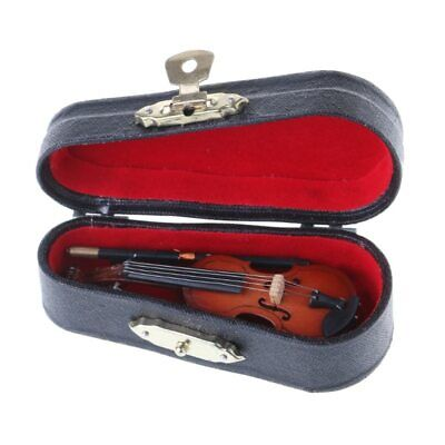 Miniature Violin With Case &Bow Mini Music Instrument Gift Collection Small Tiny