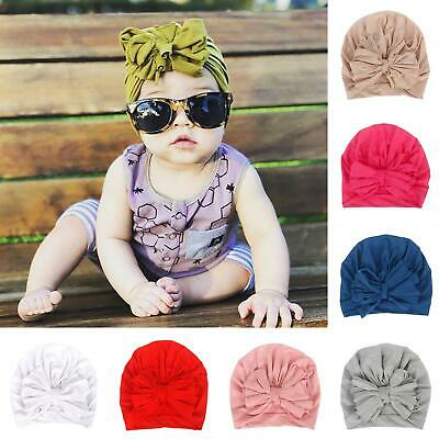 Am_ Baby Boy Girl Solid Turban Bow Head Wrap Beanie Hat Cap Headband Hair Band S