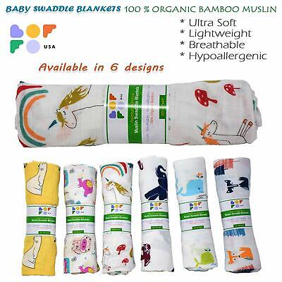 Organic Muslin Swaddle Blankets 100/% GOTS Bamboo Star Cloud and Tree Patterns