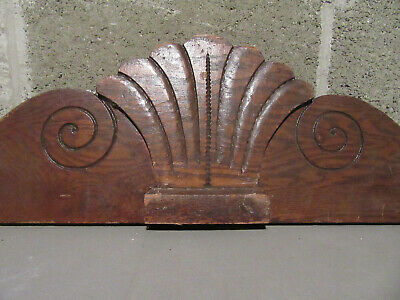 ~ Antique Carved Oak Pediment ~ 38.75 Inches Wide ~ Architectural Salvage ~