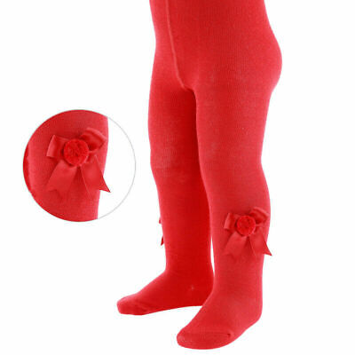 2 pairs Baby girls Spanish style pom pom & bow tights red 0-3 months BNWT