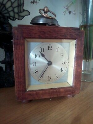 Rare Antique German One Bell wind up Clock good working order ( in wooden case )