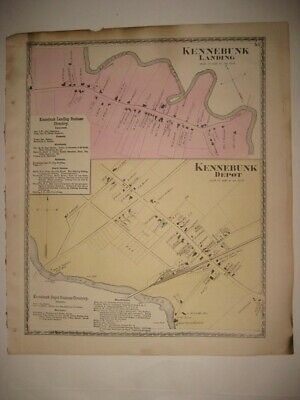 Antique 1872 Kennebunk Landing & Depot York County Maine Handcolored Map Superb