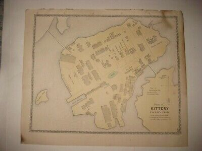 Antique 1872 Kittery Us Navy Naval Yard York County Maine Handcolored Map Superb
