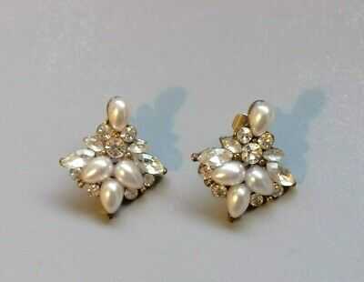 Vintage Jewellery pretty Art Deco style Pearl & crystal glass pierced earrings