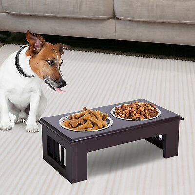 PawHut Elevated Pet Feeder Raised Stainless Steel Bowls Food Water Brown Small
