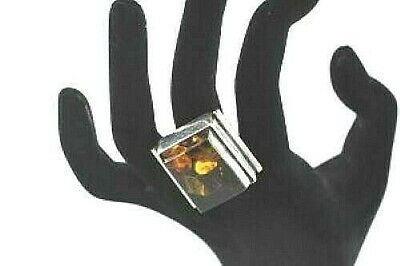 Large Sterling Silver Modernist Ring Cognac Amber Rectangle Cabochon Size 8.5