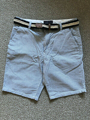 Boys Next Belted Blue Striped Chino Shorts, Age 12 years, VGC