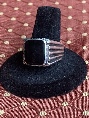 N.d Vintage Sterling Silver And Black Onyx Ring Size 9.25